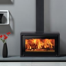 Stovax Studio 1 Freestanding wood burning stove with black glass top plate and decorative square section flue cover.