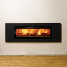 Stovax Studio 3 Steel inset wood burning fire in Jet Black Metallic. Also shown: Large Ironworks log holder & tool set also available from Stovax.